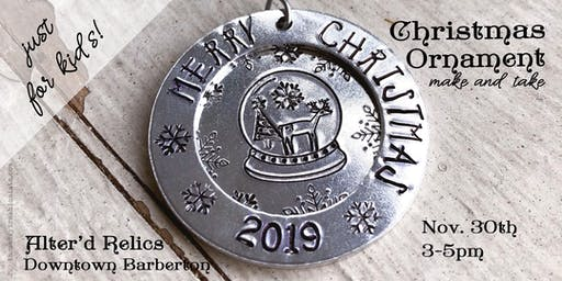Kids Handstamped Christmas Ornament Make and Take