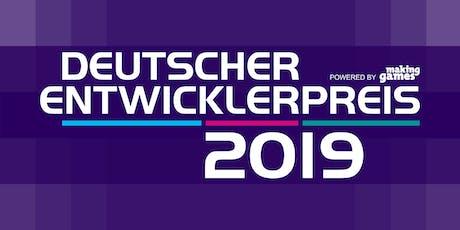 Deutscher Entwicklerpreis 2019 Tickets