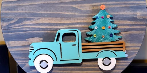 Vintage Truck with Interchangeable cutouts on a Round