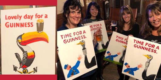 Paint Your Own Guinness Ad/Choice of Toucan or Ostrich - Paint and Sip