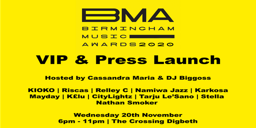 VIP & Press Launch of the Birmingham Music Awards 2020