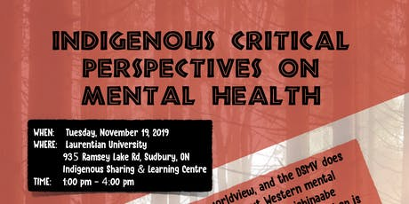 Indigenous Critical Perspectives on Mental Health PD Workshop tickets