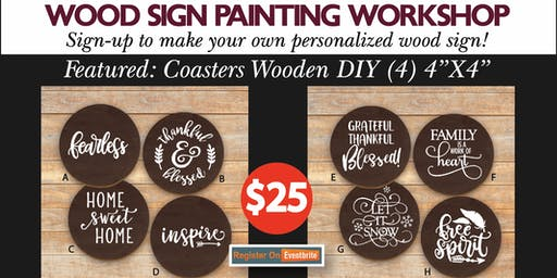 Let's get crafty with Jeanne!  Create 4 wooden coasters with friends.