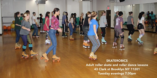 Tuesday's SKATEROBICS Adult Roller Skating classes and workshops.