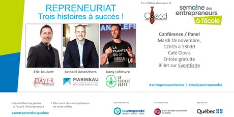 Conférence et panel - Semaine des entrepreneurs à l'école - 2019 billets
