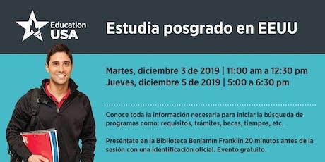 Diciembre: Estudia Posgrado (Maestría o Doctorado) en EEUU boletos
