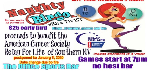 Naughty Bingo with a Twist 2019 the Office Bar early bird registration