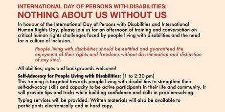 International Day of Persons with Disabilities: Nothing About Us Without Us tickets