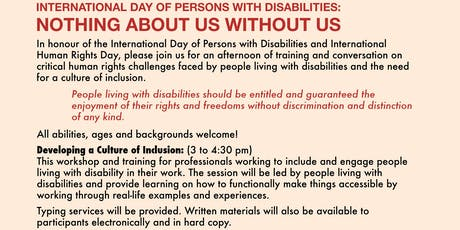Nothing About Us Without Us: Developing a Culture of Inclusion tickets