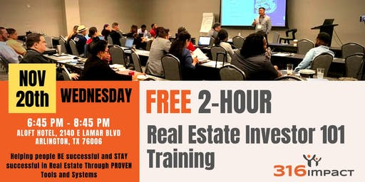 November 20th: FREE 2-Hour Real Estate Investor 101 Training