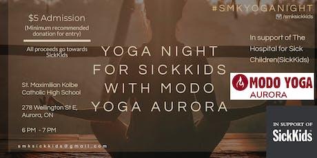 Yoga Night for SickKids with Modo Yoga Aurora tickets