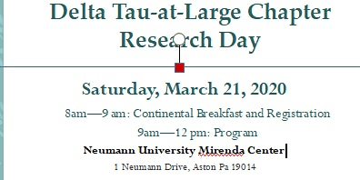 Delta Tau at Large Chapter Nursing Research Day