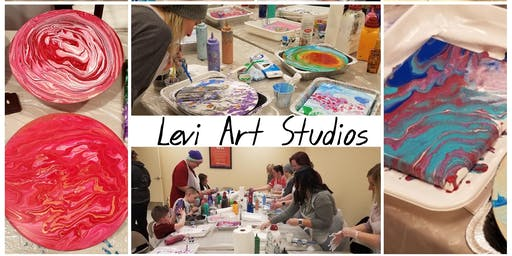 Acrylic Pouring Class at the Quilted Bear.