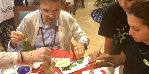 Christmas decorating with Senior Citizens