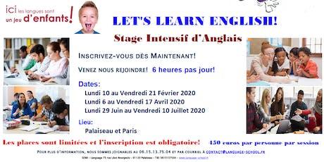 Stage Intensif d'Anglais pour Enfant (5 à 18 ans) – Vacances d'Hiver 2020 billets