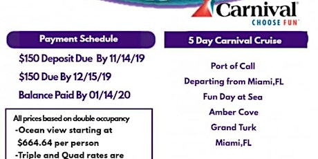 Caribbean Cruise - Carnival tickets