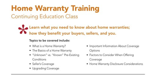 3 HR CE 'Home Warranty Training ' with First American Home Warranty