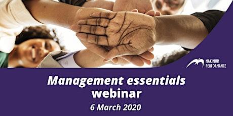 Management Essentials - Webinar (6th March 2020) tickets