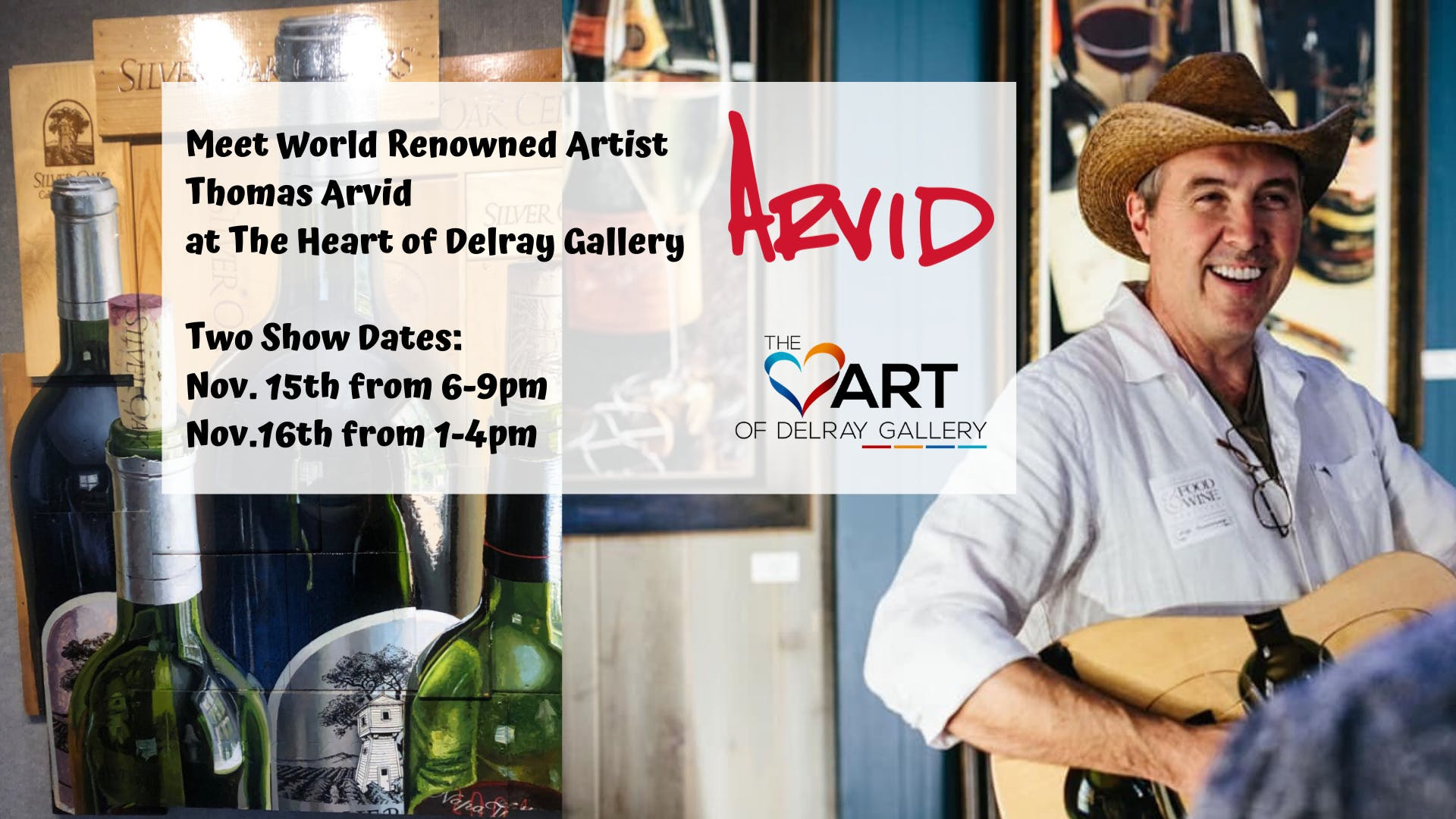 Meet Renowned Wine Painter, Thomas Arvid at The Heart of Delray Gallery
