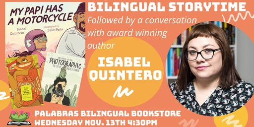 Bilingual Storytime and Conversation with Isabel Quintero