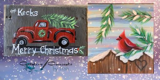 Christmas Truck Slate Paint Night