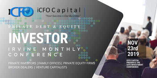 Event Announcement November 23rd - iCFO Capital Investment Conference, Irvine, CA