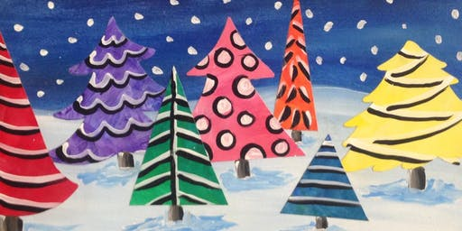 Christmas Tree Farm Collage Workshop for Adults