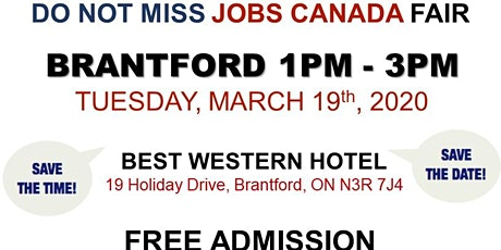 FREE: Brantford Job Fair– March 19th, 2020 tickets