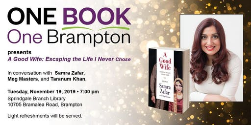 Brampton Library presents One Book One Brampton winner Samra Zafar