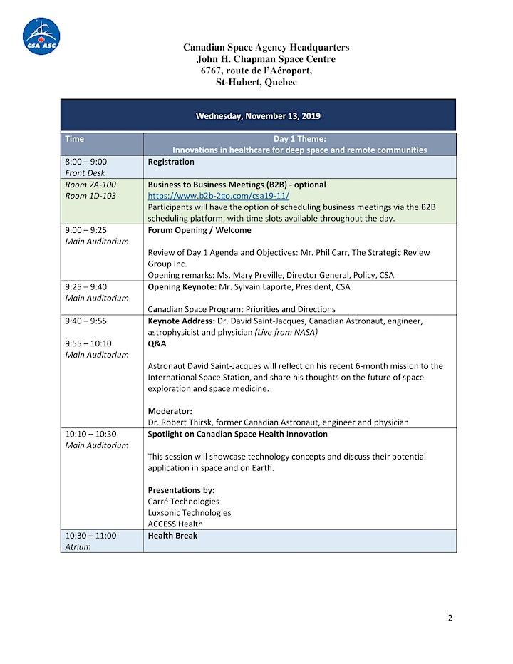 National Space Health Forum - Forum national sur la santé dans l'espace image