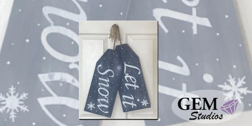 Wood Art - Let it Snow Tags