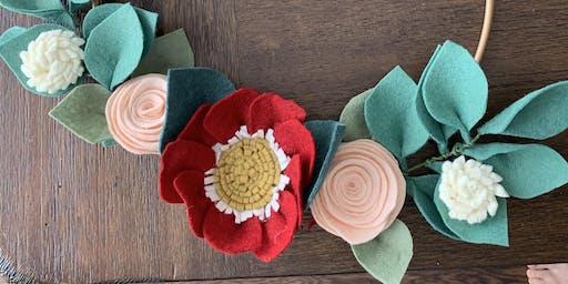 Modern Felt Floral Wreath Workshop
