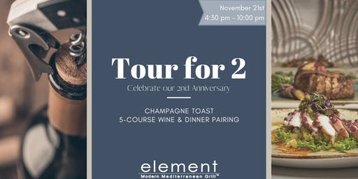 2nd Anniversary Tour for 2: Wine & Dinner Pairing