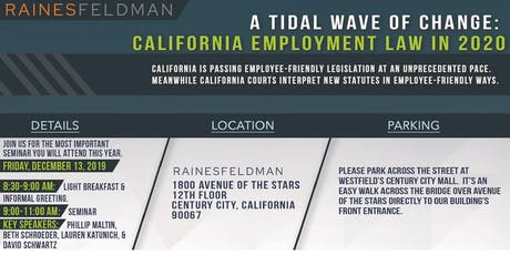 A Tidal Wave of Change: California Employment Law in 2020 tickets