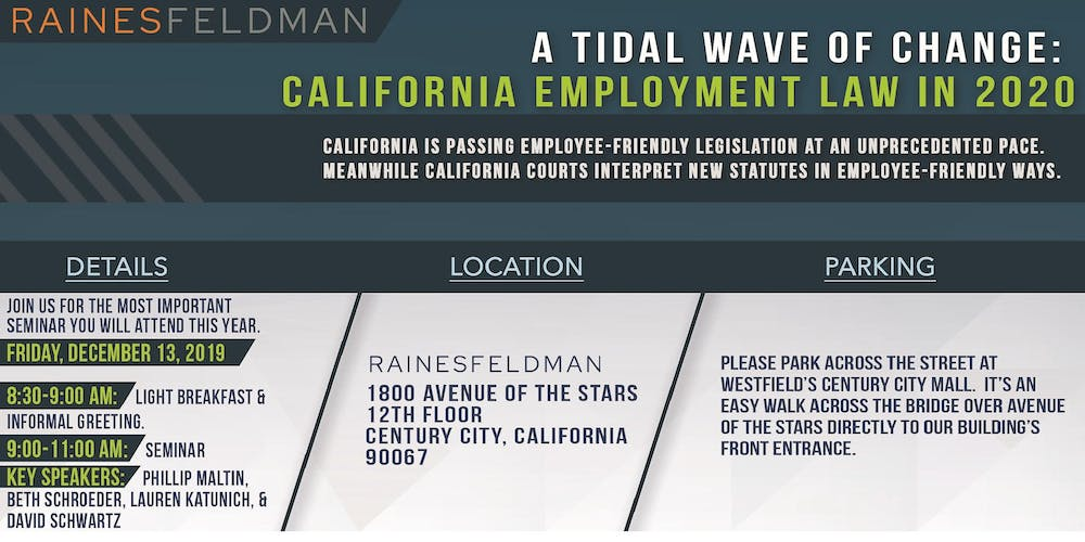 California New Laws 2020.A Tidal Wave Of Change California Employment Law In 2020