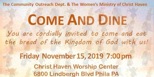 Come and Dine women's ministry community outreach event