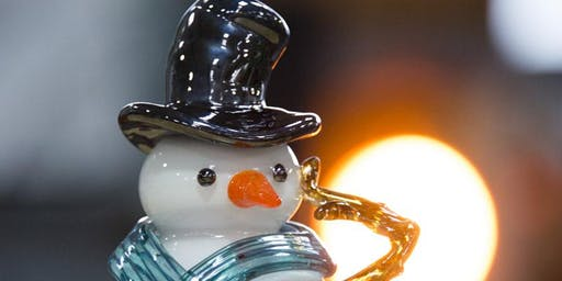 Glass Blowing Holiday show featuring hand crafted glass Snowmen