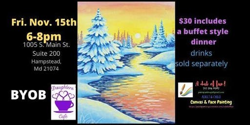 BYOB Winter Wonderland Daughter's Cafe of Hampstead Paint Event