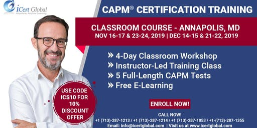 CAPM®  Certification Training Class Annapolis, MD | 4-Day CAPM BootCamp