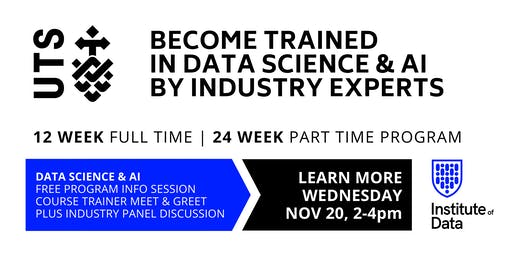 UTS Data Science & AI Training Programs - Free Info Session: 2pm