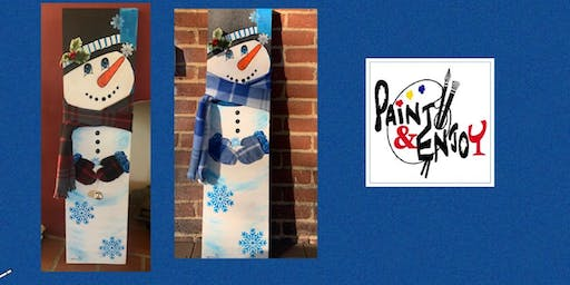 """Paint and Enjoy at Belmont Bean Co """"3ft. SNOWMAN"""" on wood"""