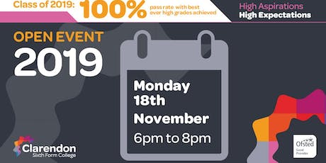 Clarendon Sixth Form College Open Events tickets
