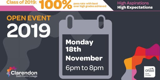 Clarendon Sixth Form College Open Events