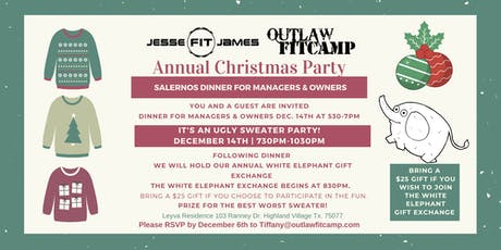 Managers & Owners JJF & OFC Company Christmas Dinner tickets