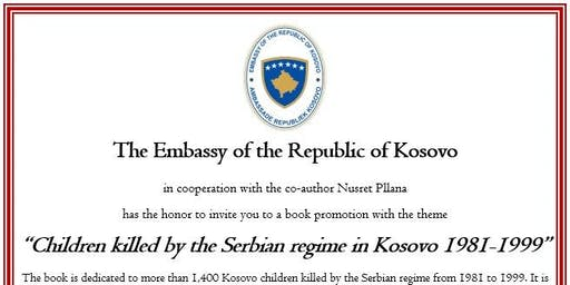 """Book launch """"Children killed by the Serbian regime in Kosovo"""""""