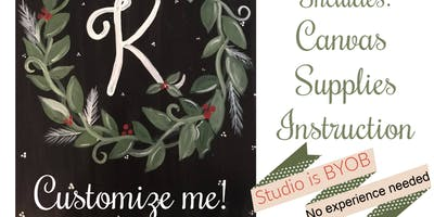 Fri Nov 22nd at 7pm-Wreath Canvas-The Kreativ Stud