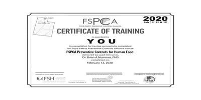 FSMA Preventive Controls Qualified Individual Logan UT Feb 2020