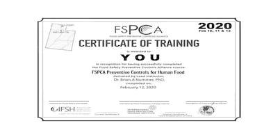 FSMA Preventive Controls Qualified Individual Logan UT Feb 2020