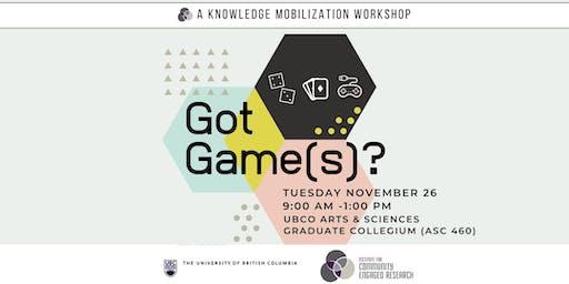 ICER Knowledge Mobilization Workshop: Got Game(s)?