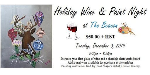 Holiday Wine and Paint Night at The Beacon (Dec 3)